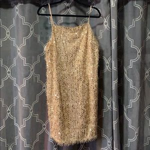Gold Fringe Mini Dress Plus Size